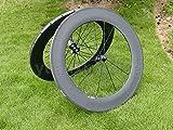yuanxingbike Full Carbon 3K Matt Carretera Bicicleta Rueda Tubular llanta 88mm (Basalto Freno Lado Ancho 20,5mm de Carbono Toray Juego de Ruedas para Campagnolo