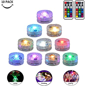 Two Pack Two Remote 20PCS Submersible LED Lights Popular Waterproof Small Battery Operated Single Mini Led for Crystal Vases Centerpiece Decoration /…