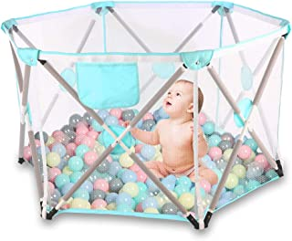 Parque infantil para bebés, parque infantil plegable y portátil para bebés, parque infantil plegable hexagonal con malla transpirable, juegos en interiores y exteriores para edades de 0 a 4 años