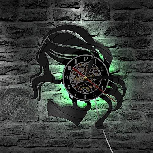 szhao Beauty Lady Peluquería Rótulo de establecimiento Retro Reloj de Pared Hecho de Discos de Vinilo LP Cuidado del Cabello Reloj de Pared de Peluquero Hermosa Mujer-with_Led