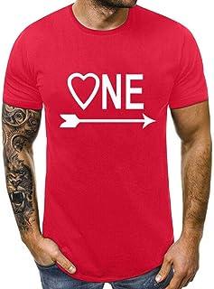 FELZ Camiseta para Hombres Y Mujeres DíA De San ValentíN Cuello Redondo Cartas Impresas Blusas Slim Fit Manga Corta Camise...