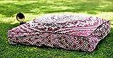 Sophia Art Puf otomano indio Ombre mandala cuadrado para cama de día, funda de cojín de algodón de gran tamaño para asientos otomanos, pufs para perros o mascotas (rosa)