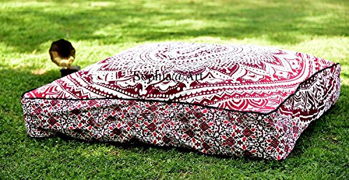 Sophia Art Indian Ombre Mandala Floor Pillow Square Ottoman Pouf Daybed Oversized Cushion Cover Cotton Seating Ottoman Poufs Dog/Pets Bed (PInk)