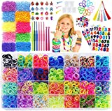 15,000+Rainbow Rubber Bands Refill Kit-56 Colors Bracelet Making Kit,14,000 Loom Bands,500 S Clips,50 Beads,30 Charms,10 Backpack Hooks,8 Crochet Hooks,5 Tassels,4 Stickers,3 Hair Clips
