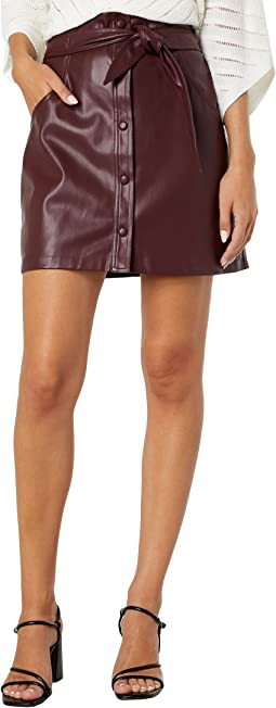 Vegan Leather Button Front Skirt