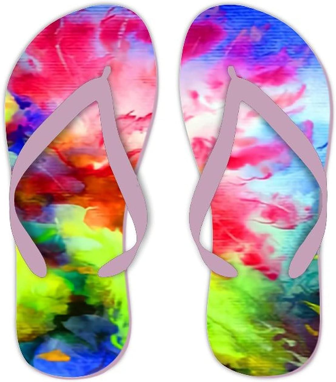 UTF4C Summer Flip Flops for Men Women Watercolor Bright Colorful Soft Lightweight Non Slip Sandals for Shower Beach Pool Bathroom Flat 12.5