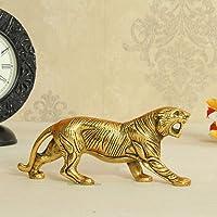 Craftsai Aluminium Zinc Oxide Tiger with Gold Polish Metal Statue Showpiece Decorative Figurine