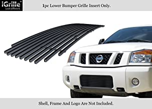 Compatible with 2004-2015 Nissan Titan 04-07 Armada Bumper Black Stainless Billet Grille N85413J