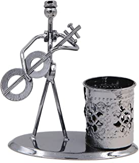 Music Musician Theme Iron Hat Man Art Steel Metal Creative Personality Pen Holder Pencil Holder Cup Pot Office Students Desktop Music Decoration Decor Toy Gift Ornaments (B005-1 Guitar)
