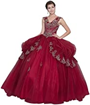 Calla Collection Womens Burgundy Embroidered Quinceanera Ball Dress XS-3XL