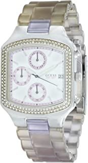 Guess I15057L4 Resin Stone Embellished Bezel Square Analog Watch for Women - Lilac and Silver