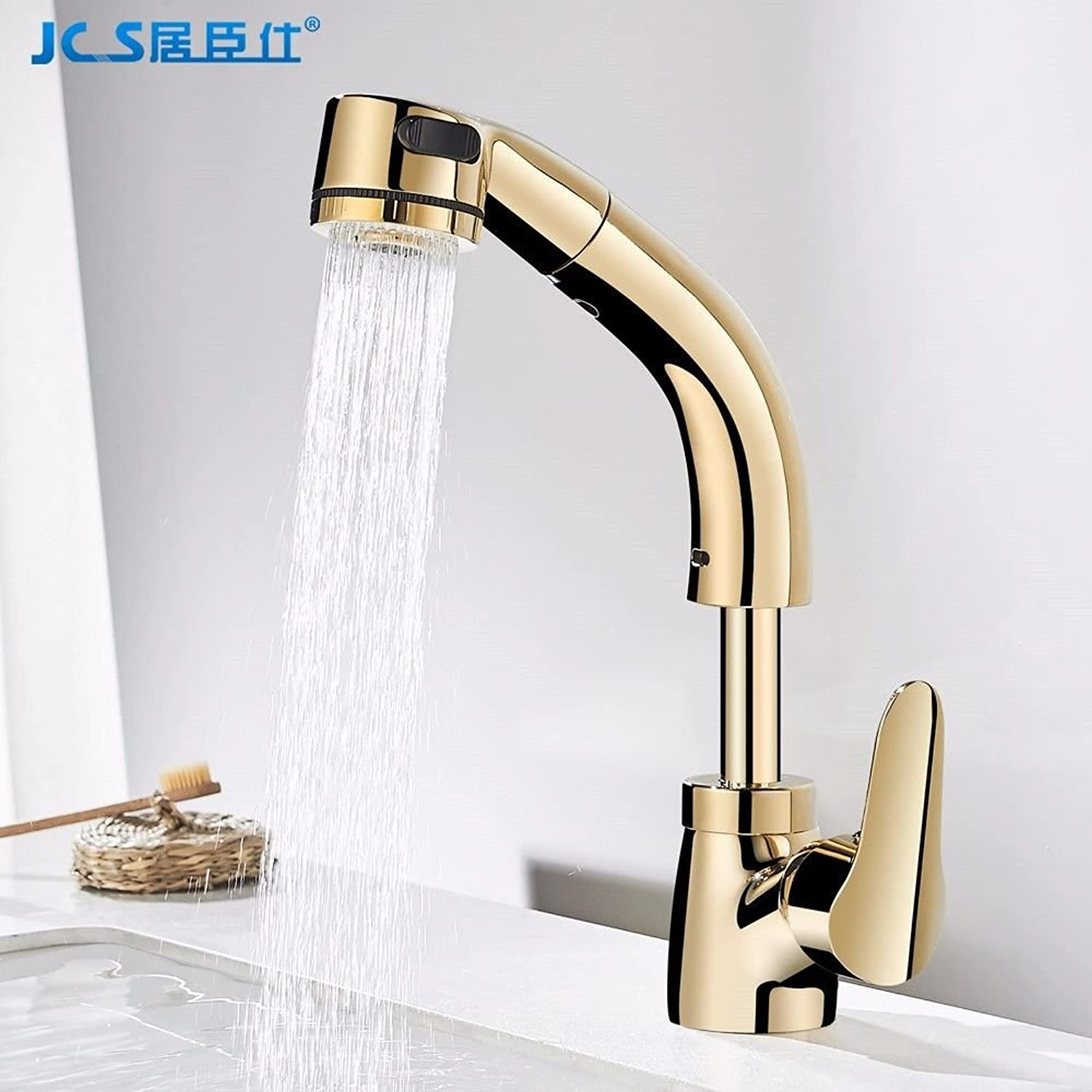 gold plated cover soild brass ceramic valve water supply hoses HUIJIN1 360°rotation bathroom sink faucet basin mixer tap with diamond decoration Commercial Bathroom Sink Taps