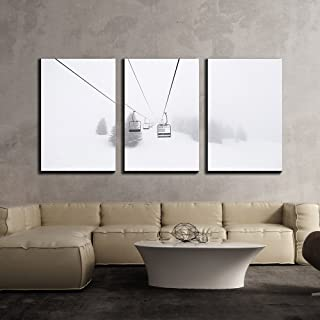 wall26 - 3 Piece Canvas Wall Art - Ski Lift in Winter - Modern Home Decor Stretched and Framed Ready to Hang - 16