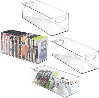 mDesign bandejas de plastico para CDs – Estanteria para CDs, DVD o videojuegos – Pack de 4 Porta CDs transparente con asas