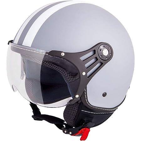 Vinz Fiori Roller Helm Jethelm Fashionhelm In Gr Xs L Jet Helm Mit Streifen Ece Zertifiziert Motorradhelm Mit Visier Grau Matt Auto