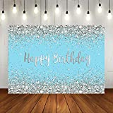 Blue and Sliver Happy Birthday Backdrop for Women Shining Diamonds Birthday Background Girl's Sweet 16 21th Birthday Party Decorations Supplies Photo Studio Props 7x5ft