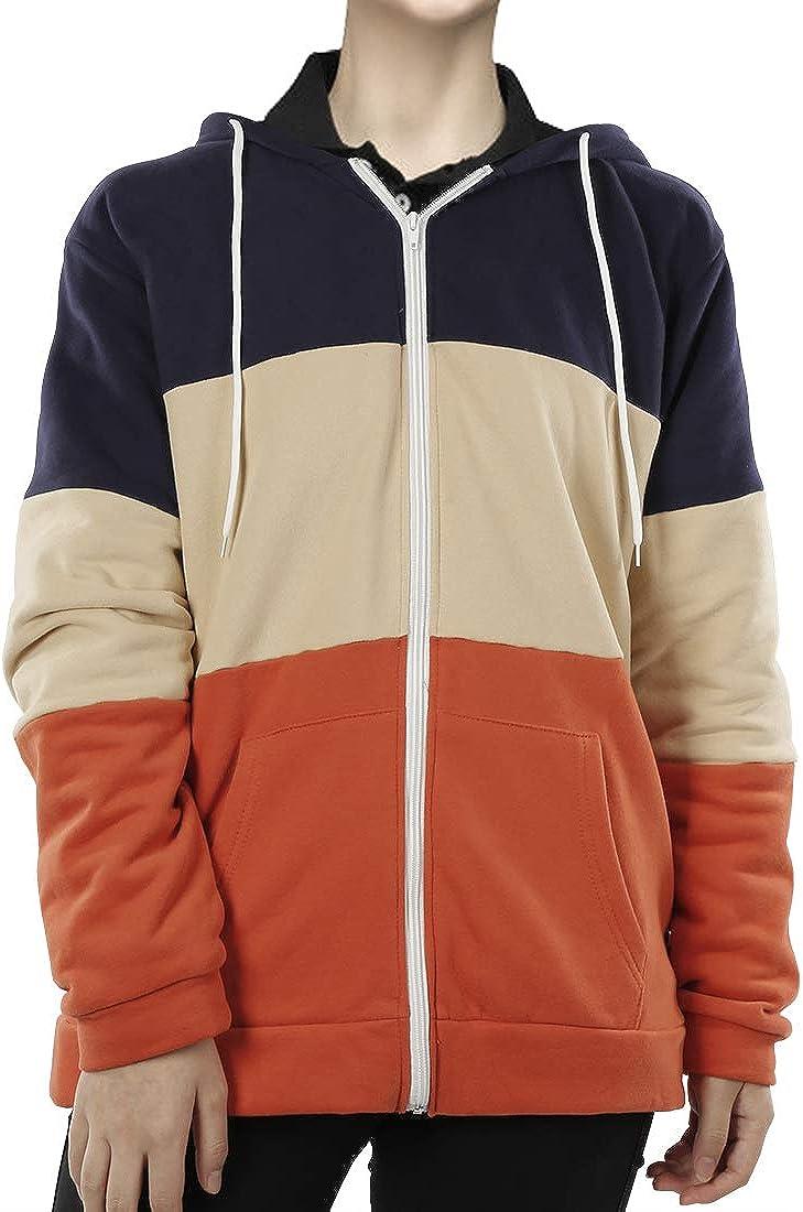 Women's Long Sleeve Zip Up Hoodie Casual Jacket Color Block Sweatshirt Coat