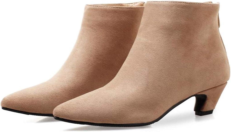 Women Ankle Boots Pointed Toe Low Heels Spring Female Western Zipper Beige Black