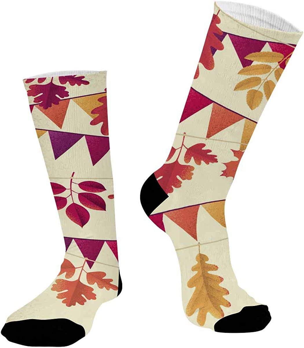 INTERESTPRINT Sublimated Crew Casual Athletic Socks Autumn Leaves Flag