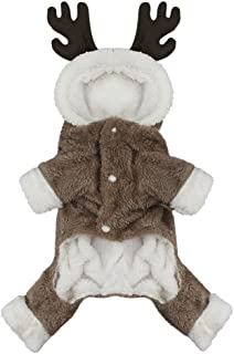 Cartoon Reindeer Pet Jacket Costume Elk Moose Soft Warm Coral Fleece Pet Hoodie Coat Winter Thick Velvet Party Dress Up Hooded Clothes Sweater Jumpsuit Christmas Apparel for Puppy Dog