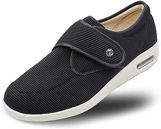 Secret Slippers Women's Diabetic Air Cushion Walking Shoes, Adjustable Breathable Mesh Lightweight Sneakers for Edema, Swollen Feet, Plantar Fasciitis, Elderly Black