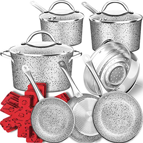 DF 16-Piece Stone Induction Cookware SetUltra Non-Stick Pots and Pans SetDurable Scratch Resistance Marble CoatingGranite Kitchenware With Cool HandlesOven&Dishwasher SafeGreyMothers Day Gift