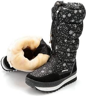 Women's Snowflake Winter Snow Boots Anti-Slip High Booties Waterproof Front Zip-up Warm Fur Lined Sneaker