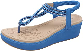 HHei/_K Women Summer Fashion Dual Use Shoes Casual Crystal Slippers Diamond Flat Beach Sandals Roman Shoes
