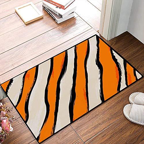 QDYLM Alfombra de baño de Microfibra esponjosa,Trazos de patrón Abstracto Vertical Pintura Salpicaduras de Naranja Diseño de Rayas vibran alfombras de Ducha de Suave Absorbente de Agua, 50x80 cm