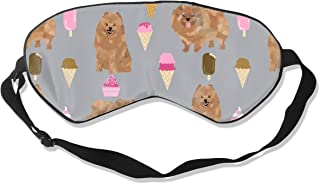 Pomeranian Dog Cute Dog Design, Pom Dog, Ice Cream 100% Silk Sleep Mask Comfortable Non-Toxic, Odorless and Harmless,Soft Blindfold Eye Mask Good for Travel and Sleep