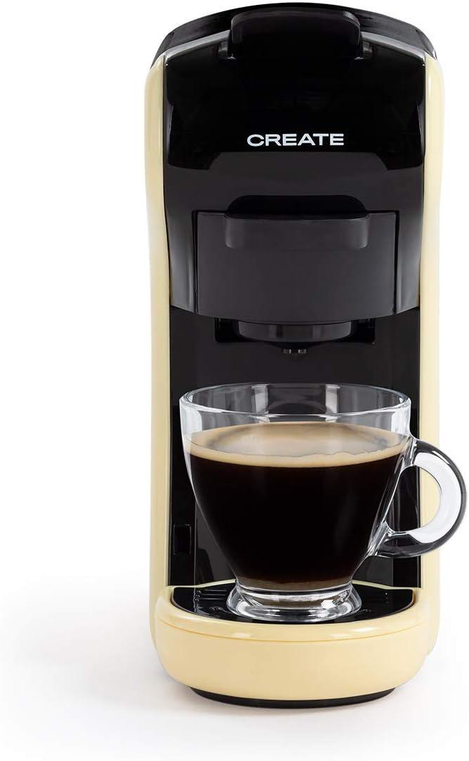 CREATE IKOHS Máquina de Café Espresso Italiano - Cafetera Multi Cápsulas Compatible Nespresso 3 en 1, 19 Bares con 2 Programas de Café, deposito extraíble, 0,6 L, 1450 W (Amarillo)