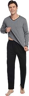Pijamas Hombre Algodón 2 Piezas Mangas Larga Pantalon Largo Invierno Cómodo y Agradable