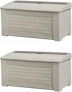 Suncast 127 Gallon Capacity Resin Outdoor Patio Storage Deck Box & Seat (2 Pack)