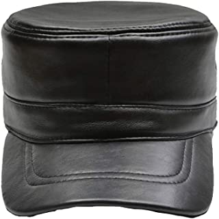 leather military cadet cap