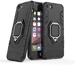 Compatible with iPhone5 5S SE Case, Metal Ring Grip Kickstand Shockproof Hard Bumper Shell (Works with Magnetic Car Mount)...