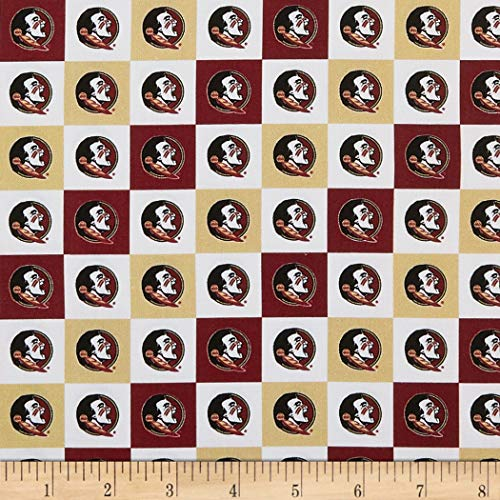 Sykel Enterprises NCAA Cotton Broadcloth Florida State Collegiate Check Fabric, Team Color, Fabric By The Yard