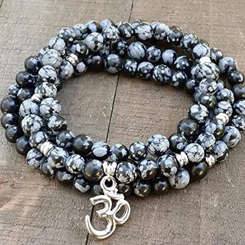 RBRP9999 - 8MM Snowflake Mala OM Necklace Stretch Wrap Bracelet Meditation Yoga Energy 108 Beads bracelet