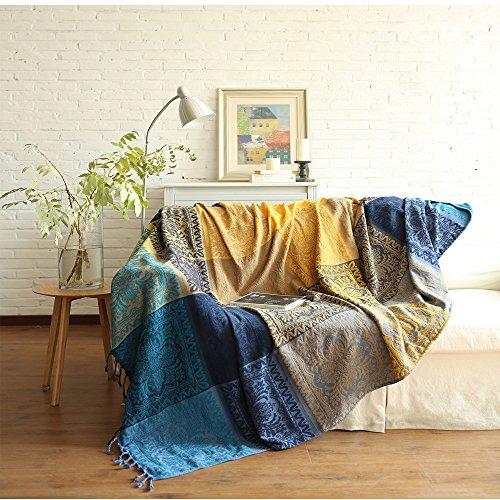 SHANNA Chenille-Überwurfdecke, Vintage-Jacquard-Quasten, doppelseitig, Patchwork-Decke, warm, luxuriös, dekorativ für Zuhause, Büro, Reisen, Tibet Blue, 86.6 * 98.4in