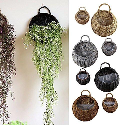 Garden Rattan Hanging Baskets Wicker Hanging Planter Plant Pots Rattan Wicker Flower Hanging Basket (S, Dark Brown)