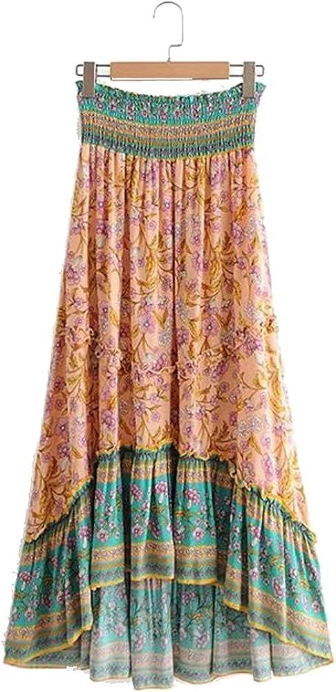 Women Red Peacock Floral Print Beach Skirt High Waist Midi Long A-Line Rayon Femme