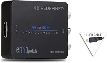 enKo Products Mini Composite RCA CVBS AV to HDMI Converter (Input: AV; Output: HDMI) for VCR DVD 720P 1080P