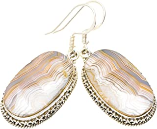 Natural Crazy Lace Agate Handmade Unique 925 Sterling Silver Earrings 1.75
