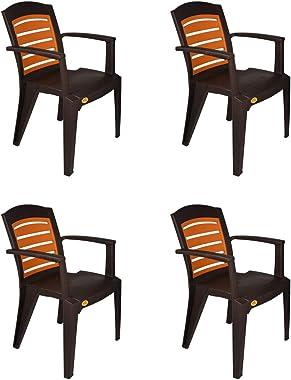 National Linea Plastic Living Room Chair,Set of 4,Wenge/Sandalwood