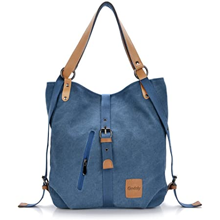 Stilvolle Damen Canvas Handtasche Rucksack Umhängetasche 3 in 1 Große Multifunktionale Tasche für Arbeit Schule Alltag