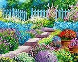 Pintar por Numeros Adultos Pequeñas flores de patio Pintura al óleo de DIY por Números con Pinceles y Pinturas para Adultos y Niños Decoraciones para el Hogar- 40 x 50 cm (con marco de madera)