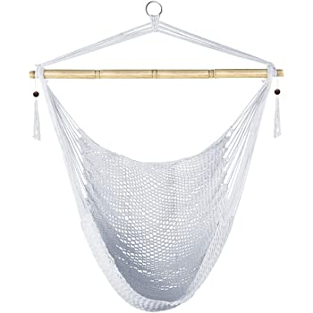 Amazon Com Prime Garden Hammock Chair Hanging Rope Weaving Chair Large Swing Chair For Indoor Outdoor Garden White Furniture Decor