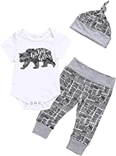 🌸Clearance!!Newborn Kids Boys Bear Letter Romper+Pants+Hat Outfits MS-SM Infant Baby Cute O-neck Short Sleeve 3Pcs for 0-18M