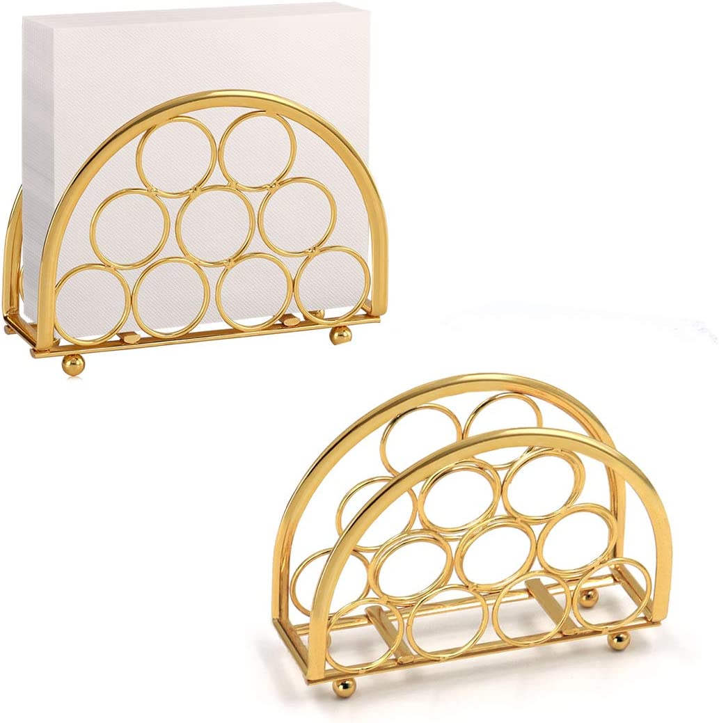 Buruis Same day shipping Modern Paper Napkin Holder 5x3.5 Set Gold Inch Shiny Cheap super special price of