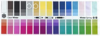 Handy Fabric Color Swatch Clear Winter with 30 Colors for Color Analysis and Image Consulting