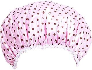 Polka Dot Microfiber Elastic Reusable Waterproof Bath Cap Shower Cap Pink